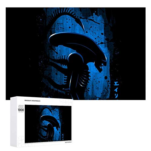 Alien Side Profile Blue Puzzles, interesting wooden puzzles, decompression gift picture puzzles, 1000 individual picture puzzles.