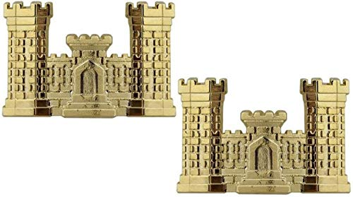 US Army Military Engineer Corps Officer's Castle Collar Insignia Pins PAIR