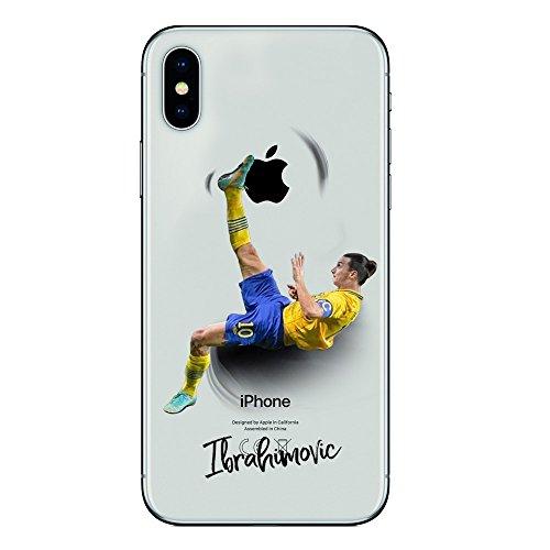 iPhone X/XS Cover TPU Gel Trasparente Morbida Custodia Protettiva, Soccer Collection, Zlatan Ibrahimovic, iPhone X/XS Ten