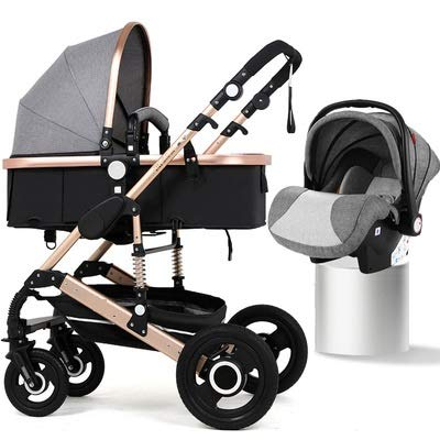 BabyTeddy 4 in 1 Baby Car Travel System Easy Fold, Baby Stroller for Newborn Baby/Kids, 0-4 Years Stroller/Pram + Infant Car seat(Grey)