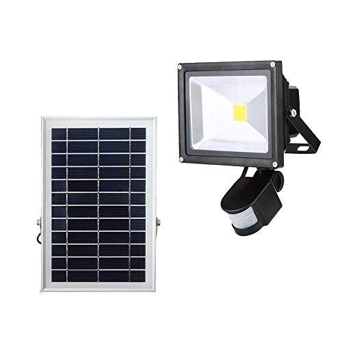 Foco LED solar con detector de movimiento, 10 W, para exteriores, resistente al agua IP65, para jardín, garaje, patio, camino (10 W, blanco frío), 20w Warmweiß 20.00W