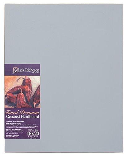 "Jack Richeson Richeson Mid Grey Toned Gessoed 1/8"" Hardboard 16""x20"""