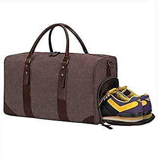 Travel Duffel Weekend Tote Bag Canvas PU Leather Trim Shoe Compartment