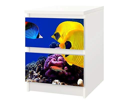 Set Möbelaufkleber für Ikea Kommode MALM 2 Fächer/Schubladen Fische gelb Wasser Riff Kat6 Ozean Meer Unterwasser Aufkleber Möbelfolie sticker (Ohne Möbel) Folie 25F183