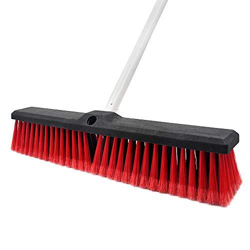 Escoba de empuje rígida para interior y exterior, cepillo de limpieza de piso, 17,7 pulgadas de ancho, 61,8 pulgadas de largo, de acero inoxidable, para limpieza de baño, cocina, patio, garaje