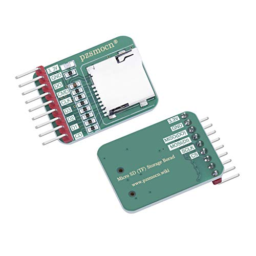 pzsmocn Micro-SD/TF Memory Card Reader Adapter Slot Socket Module (2 Pcs) Compatible with Raspberry Pi and Arduino Board. for Smart Homes, Offices, 3D Printer and Teaching Interact with Robots.