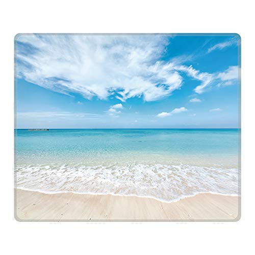 PIKABOO Mouse Pad - Cute Mouse Pad for Laptop Non-Slip Rubber Mouse Pad with Stitched Edges Working Gaming Mouse Pads for Kids/Boys/Girls/Adults(Rectangle 240x200x3mm) (Beach)