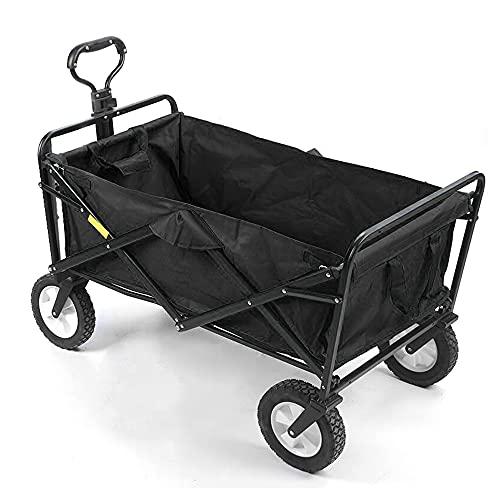 IKAYAAA Outdoor Camping Pull Cart Tragbarer Klappwagen 600D Oxford Cloth Wasserdichter Allrad-Handwagen Multifunktionaler Klappwagen zum Einkaufen Angeln