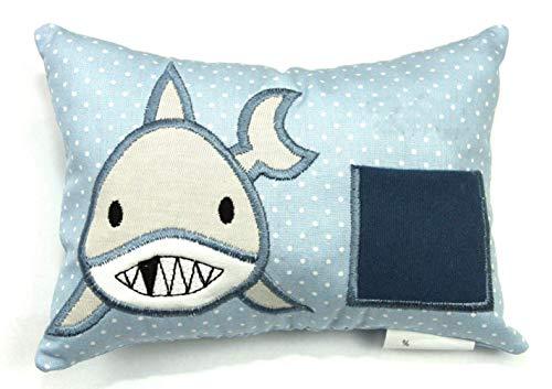 Zahnfeekissen Zahnfee Hai Milchzahn mit Namen personalisierbar blau handgemacht 16 cm x 11 cm x 4 cm