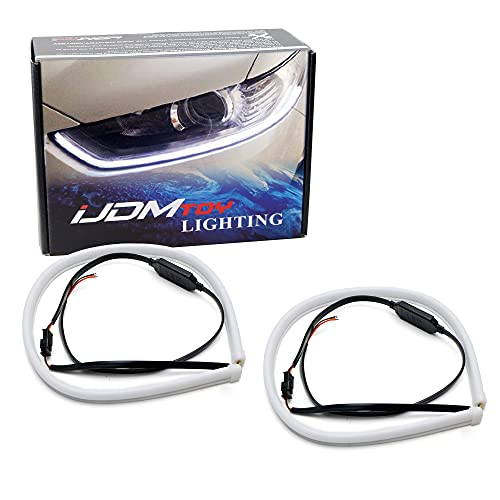 iJDMTOY Xenon White/Amber Yellow Switchback LED Tube Strip Lights Compatible...
