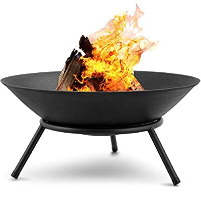 Amagabeli Fire Pits for Garden 22.4inch Premium Steel Fire Bowl Outdoor Fire Brazier for Garden BBQ Patio Heater Camping Portable Fire Basket Chimney Log Burning Bowl Wood Burner Charcoal Bonfire Bowl by Amagabeli Garden Home