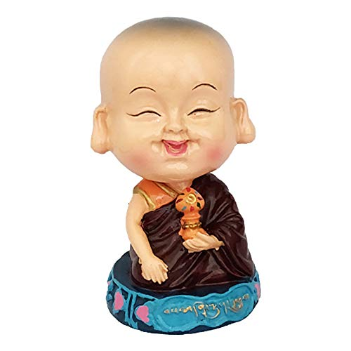 Divya Mantra Bobblehead Figure For Office, Car Dashboard Bobble Head Spring Shaking Lama Buddha Ashtamangala Kids Toy Doll Showpiece, Collection Figurines, Home Decor, Yoga Meditation Decoration Brown