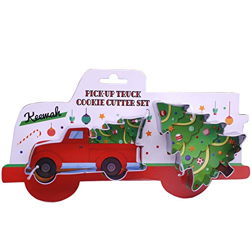 Large Pickup Truck with Christmas Tree Cookie Cutter Set - 2 Piece - Truck with tree and Christmas tree - Stainless Steel