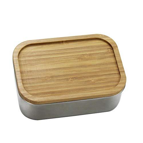 happygirr Fiambrera de acero inoxidable 304, con tapa de madera, a prueba de fugas, fácil de usar, respetuosa con el medio ambiente, cubierta de bambú, 800 ml, para niños y adultos