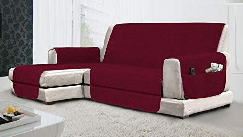 MB HOME BASIC Funda de sofá Antideslizante con Chaise Longue SX Relax, Color Burdeos, 190 cm