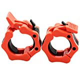 Greententljs Barbell Clamps Olympic Quick Release Pair of Locking 2' Olympic Cap/Hex Bar, Pro Barbell Lock 2-Inch Grip Plates Collars Workout Clips for Squat Weight Lifting Fitness Training (Orange)