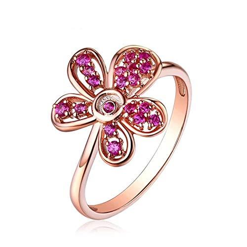 Beydodo Partnerringe Rosegold 750 Blume mit Rubin Eheringe Hochzeit Ring Rosegold 52 (16.6)