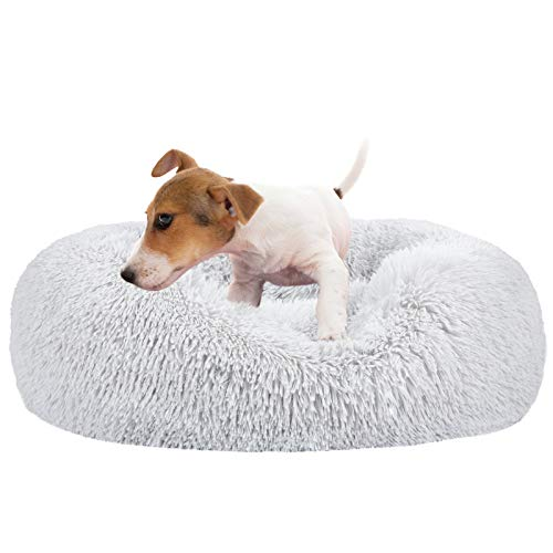 MIXJOY Calming Dog Bed for Small Medium Large Dogs, Faux Fur Donut Cat Puppy Bed, Self Warming Indoor Sleeping Pet Bed, Washable Anti-Anxiety Dog Cushion Multiple Color (23', Grey)