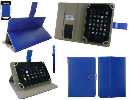Emartbuy® Blau Stylus + Universalbereich Blau Multi Angle Folio Executive Case Cover Tasche Hülle Schutzhülle Wallet mit Kartensteckplätze Geeignet Für I.onik TP - 1200QC 7.85 Inch Tablet