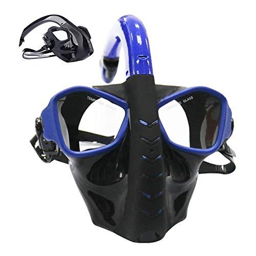 Seca conjunto del tubo respirador, gafas de buceo de silicona máscara de buceo M620, anti-niebla película a prueba de fugas diseño de vidrio templado impacto, amplia panorámica gafas de buceo,Azul