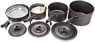 Ezyoutdoor Camping Cookware Mess Kit for 4-5 Person Lightweight Aluminum Cookware Cooking Pan Pot Set for Outdoor Backpacking Camping Hiking Picnic