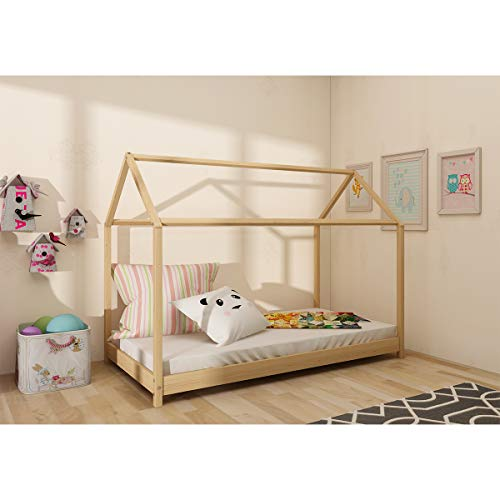 Panana Wooden Kids House Bed Frame, Solid Pine WoodTreehouse Style Childrens Floor Bed Frame for Toddlers and Children (Wood)
