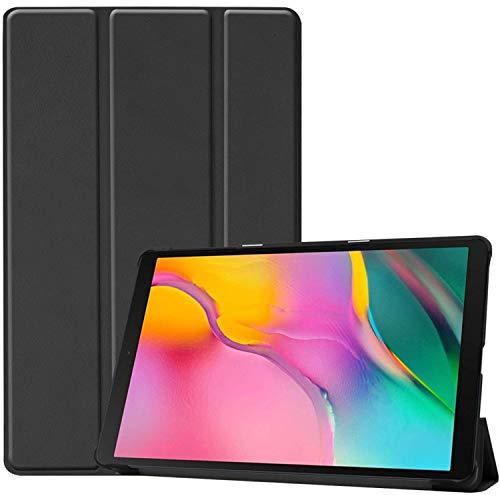 iMoshion kompatibel mit Samsung Galaxy Tab A 10.1 (2019) Hülle – Trifold Tablet Hülle – Schutzhülle Kunstleder in Schwarz [Mit Ständer, Mikrofaser-Futter, Magnetverschluss]