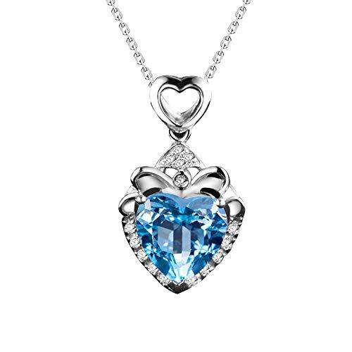 Gargantilla de plata con colgante de corazón de cristal azul natural para mujer