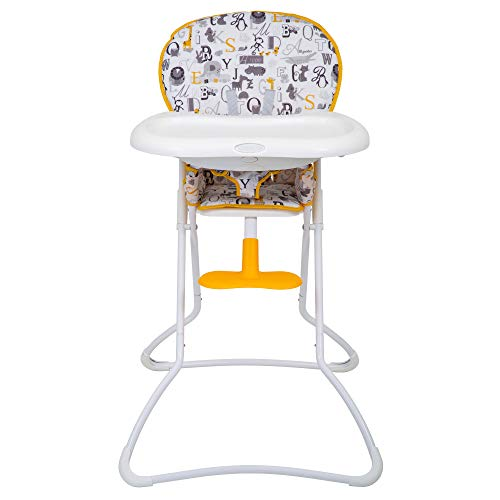 Graco Snack N\'Stow Hochstuhl, Baby Hochstuhl ab 6 Monaten, Kinderstuhl mit Tisch, zusammenklappbar, Überzug abwaschbar, mitwachsend, abnehmbares Tablett, Sicherheitsgurt, weiß, ABC