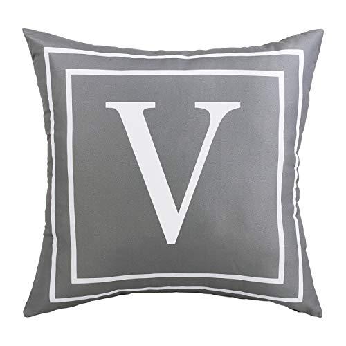 BLEUM CADE Gray Pillow Cover English Alphabet V Throw Pillow Case Modern Cushion Cover Square Pillowcase Decoration for Sofa Bed Chair Car 18 x 18 Inch
