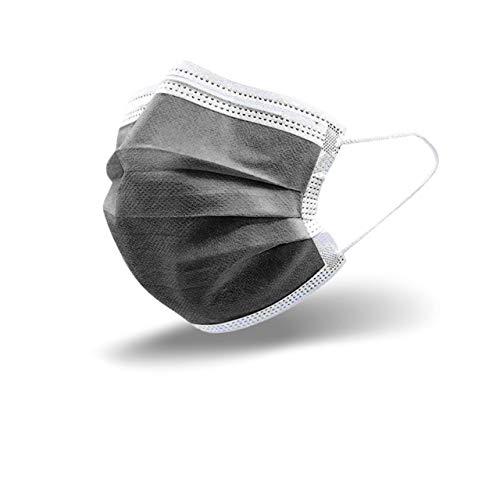 50 Stück Grau Einweg-Gesichtsmasken Mund-Nasen-Schutz Einmal Mundschutz Mund und Nasenschutz Einweg Mundbedeckung aus Vlies Behelfsmaske Mundschutz Maske Gesichtsmaske Gesichtsschutz Schwarz Blau
