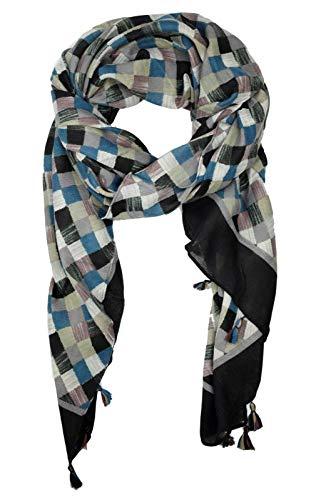 GoFashion Damen SCHAL Schultertuch Fransen Colorblocking blau rot schwarz senf CO045S9505 (Schwarz)