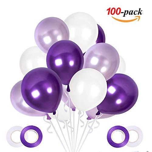 JOJOR Luftballons Lila Weiß Flieder, 100 Stück Pastell Lila Violett Lavendel Helium 30cm für Hochzeit Bride JGA Mädchen Geburtstag Taufe Konfirmation Kommunion Party Deko