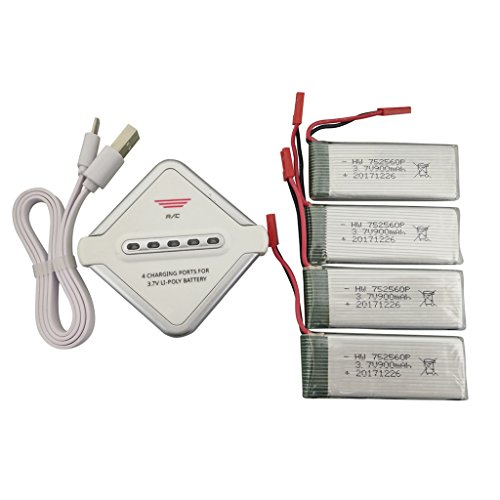 sea jump Accessories 4PCS 3.7V 900mah Lithium Battery + 4in1 Charger for 8807 8807W Quadcopter Spare Parts Drone Battery