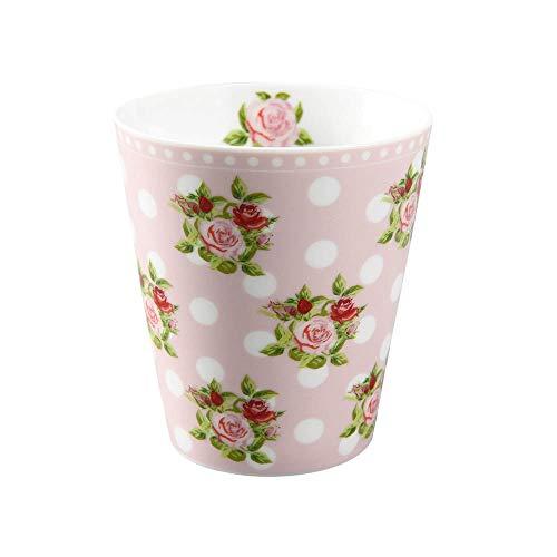 Krasilnikoff - Becher, Tasse - Happy Mugs - Dots n' Roses - ca. 330 ml - Höhe: 10 cm - rosa, weiß, grün