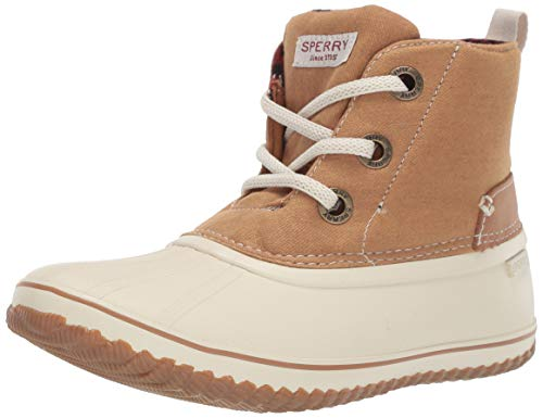Sperry Womens Schooner 3-Eye Lace Up Canvas Boots, Tan, 7