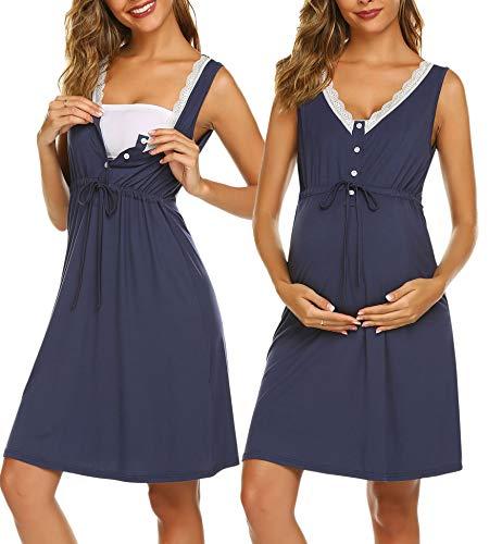Ekouaer Womens Maternity Nightgowns,Sleepwear Sleeveless,Dresses Nursing,Loungewear Breastfeeding,Grown Pregnancy for Hospital