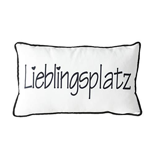 MC Trend Zier-Kissen Lieblingsplatz Bett-Sofakissen Deko-Kissen Lieblings-Mensch Geschenk-Idee (Weiß/Schwarz)