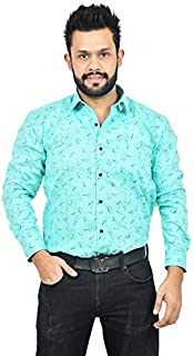 The Mods Men's Formal Sky Blue Color Printed Shirt