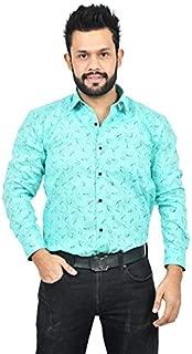 The Mods Men's Formal Sky Blue Color Printed Shirt