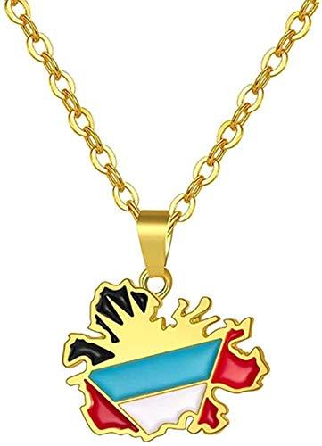 CXYCXY Co.,ltd Collar Trendy Wome Ntigua Map Flag Collares Pendientes para Cadenas de Acero Inoxidable de Color Dorado Collar de Regalo de joyería de Mapa Mundial