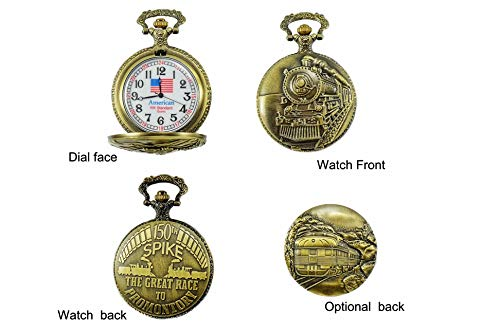 "North American Railroad Approved, Railway Regulation Standard, Train Pocket Watch""150th Aniversary USA"" Japanese Movement""Steam Engine #""1″ (of 5 Watch Collection)"