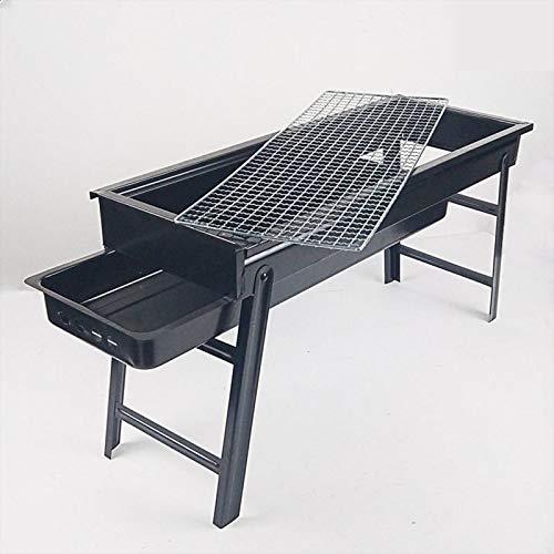 Parrilla de carbón de leña portátil plegable, acero inoxidable, parrilla de carbón con pulsera y cajón tipo de carbón, fácil de desmontar, adecuado para picnics al aire libre, reuniones familiares, et