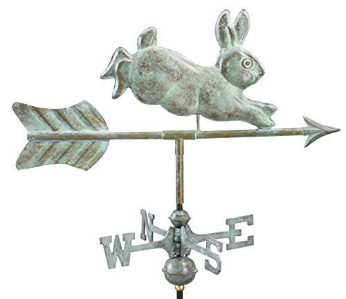 Good Directions Rabbit Cottage Weathervane with Roof Mount, Blue Verde Copper