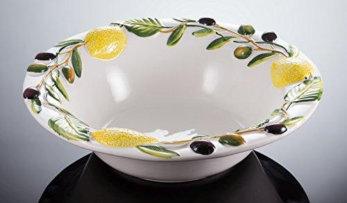 Bassano Ausgefallene italienische Keramik große runde Oliven-Zitronen Schüssel-Schale 33x9