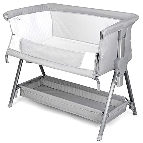 Cuna de Colecho bebé, Cuna bebé Gris, con Chasis de Almacenamiento, Extraíble para Limpiar / Ajustable en Altura / Fácil de Plegar y Guardar