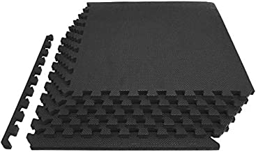 """ProsourceFit Extra Thick Puzzle Exercise Mat ¾"""", EVA Foam Interlocking Tiles for Protective, Cushioned Workout Flooring for Home and Gym Equipment, Black"""