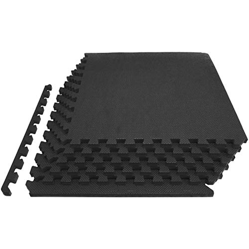 ProsourceFit Extra Thick Puzzle Exercise Mat ¾, EVA Foam Interlocking Tiles for Protective, Cushioned Workout Flooring for Home and Gym Equipment, Black