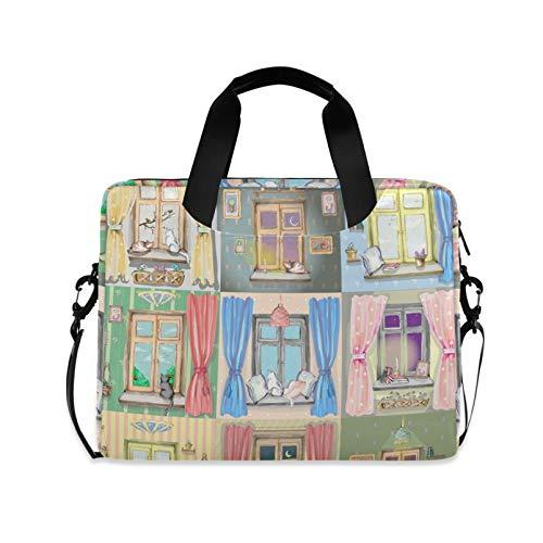 RELEESSS Laptop Sleeve Cute Cat Window Pattern Laptop Handbag Briefcase Messenger Carrying Case Bag Adjustable Shoulder Strap for 13-16 Inch