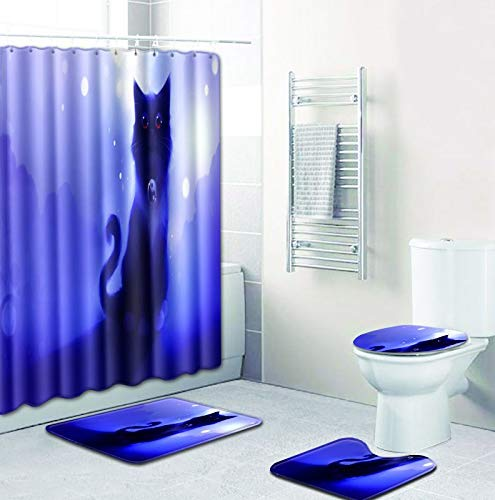 Joy-Beau Bathroom 4 Piece Sets Contain Waterproof Shower Curtain and 12 Hooks, Non-slip Bath Mat, U-shaped Toilet Mat and Toilet Lid Cover,Cat Printing Series